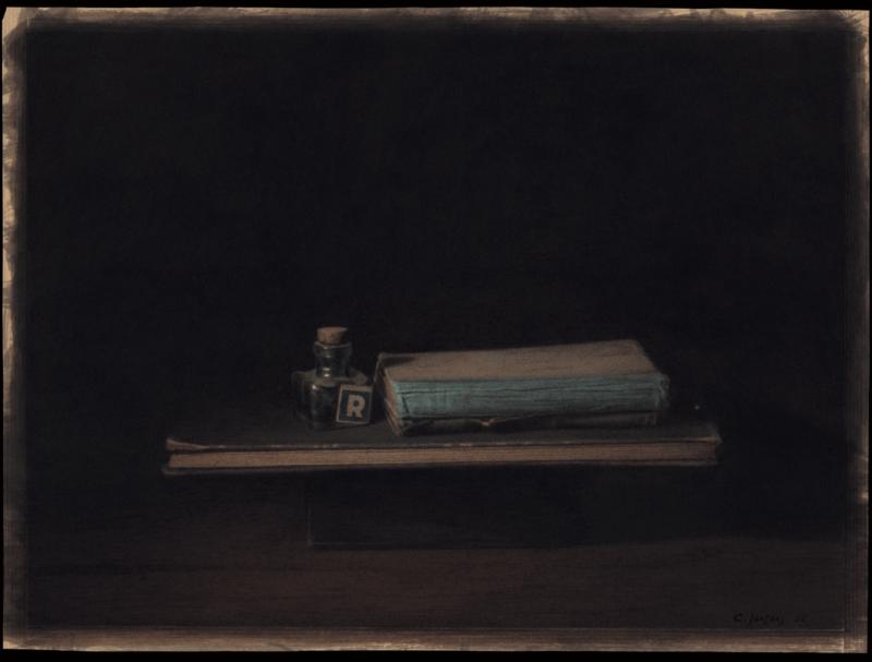 Catherine Jansens, Bouteille R, livre et livre de compte, watercolour, 49,5 x 36,5 cm, 2002.