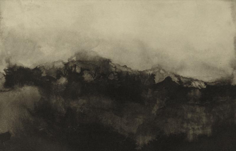 Marc Crépy, Montagne nuageuse, ink wash, 29,5 x 19, 2013.