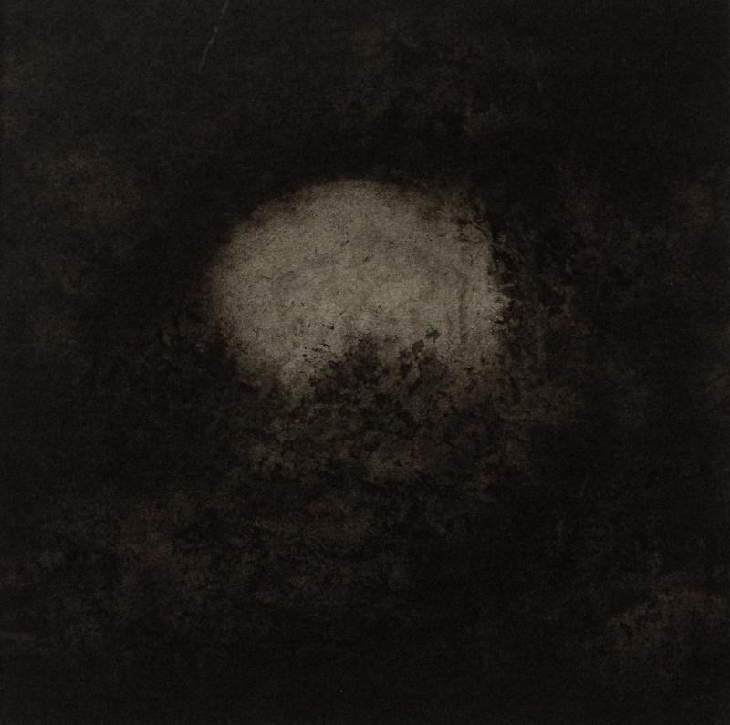 Marc Crépy, Lune dans la nuit, ink wash, 17 x 17 cm, 2013.