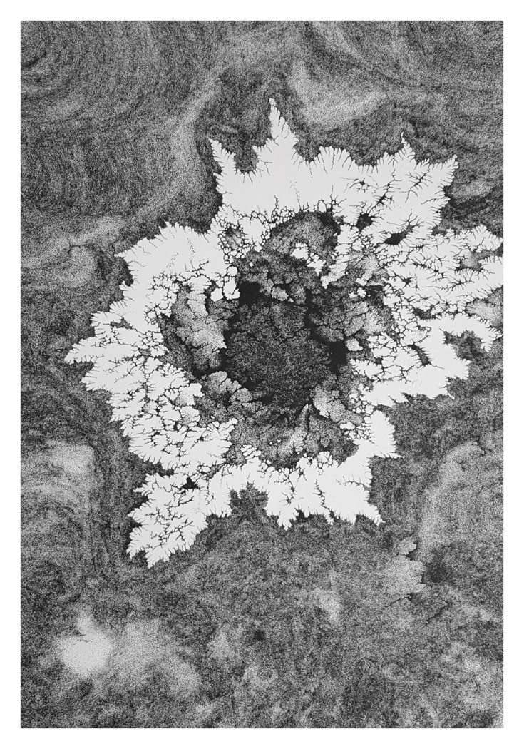 Naym Ben Amara, Bruit N°38, 2016. Dots in China Ink on Paper. 100x70 cm.