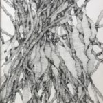 """Naym BEN AMARA, """"Condensation de champ de possibles"""" #2, 2019-20. Encre sur papier, 49×38,5 cm."""