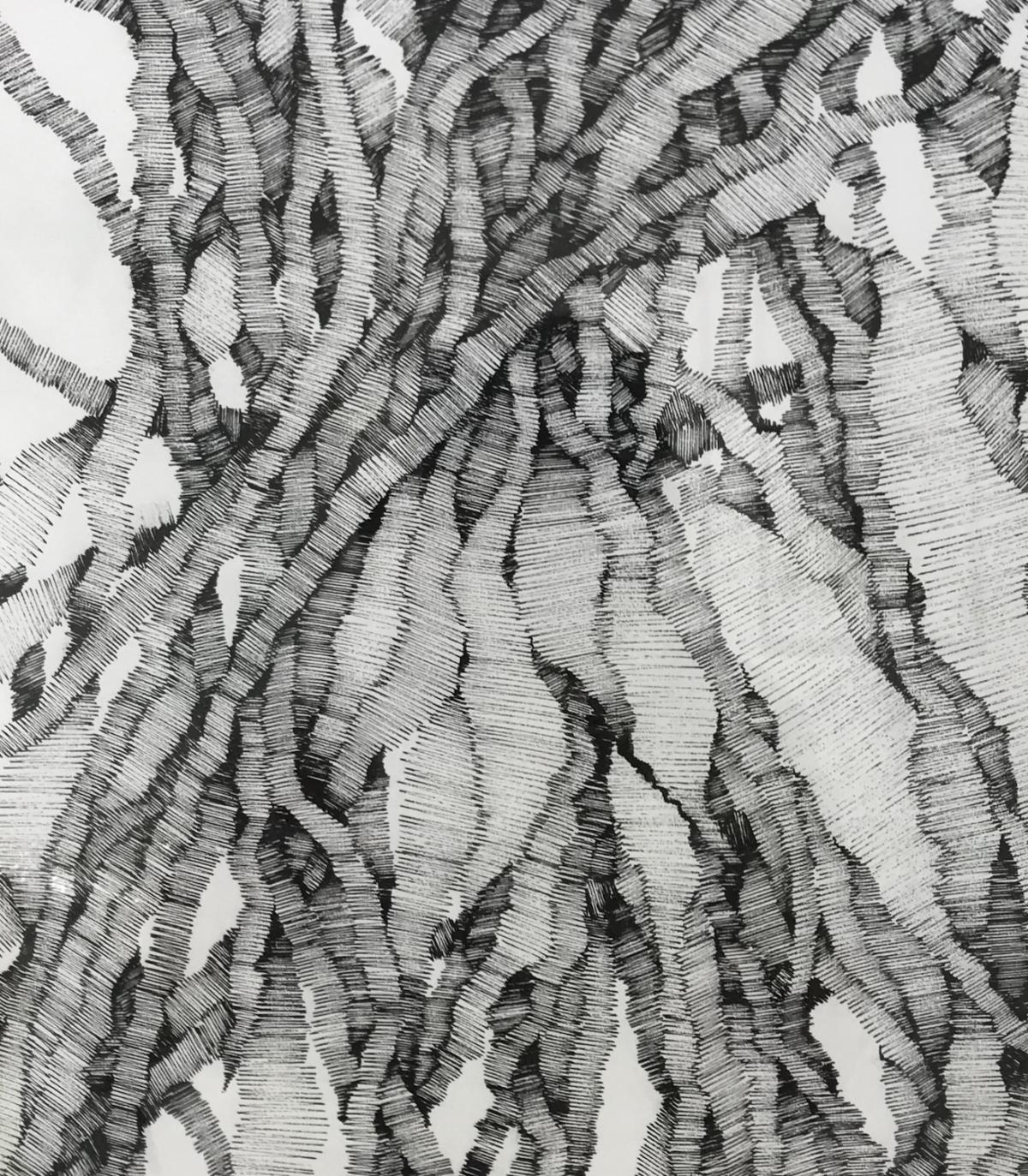 """Naym BEN AMARA, """"Condensation de champ de possibles"""" #2, 2019-20. Encre sur papier, 49x38,5 cm.Detail."""