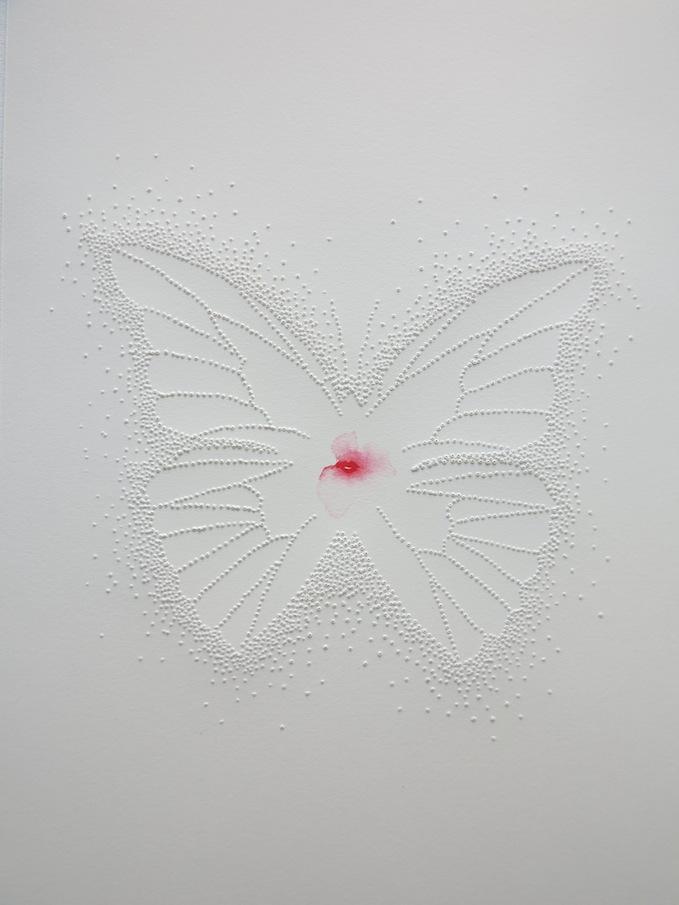 Marielle Degioanni, L'esprit de la jeune fille, 2015. Perforation and watercolour. 18x26cm.