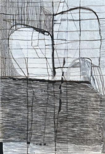 Brigitte Kühlewind Brennenstuhl, Untitled, 2021 gouache, ink and charcoal on newspaper Sonntag 11, 1989, 70,5 × 49 cm.